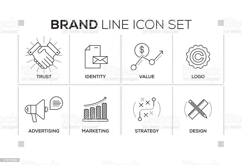 Brand keywords with monochrome line icons vector art illustration