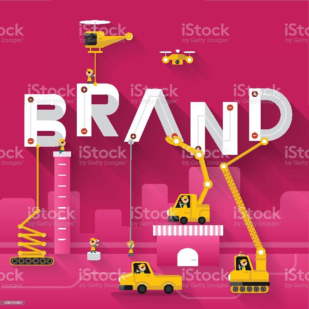Brand text illustration in construction vector art illustration