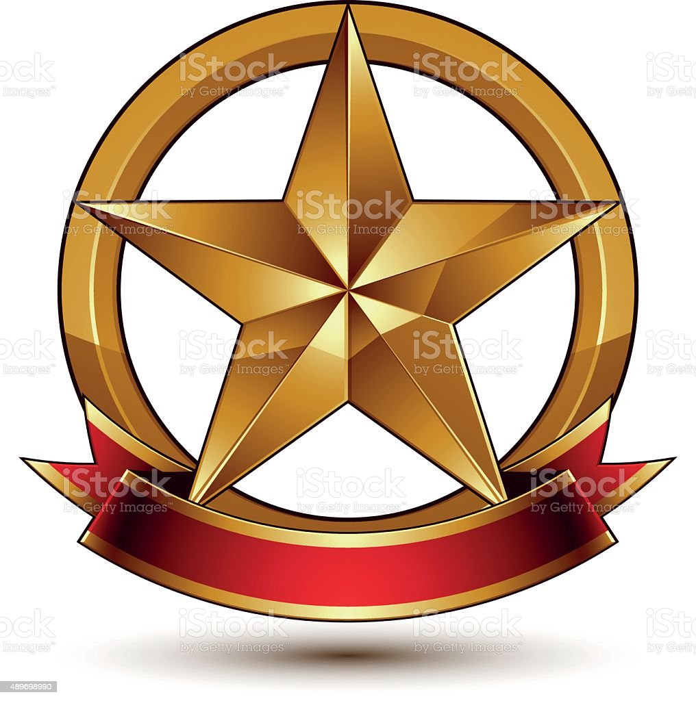 Branded golden symbol with stylized pentagonal glossy star vector art illustration