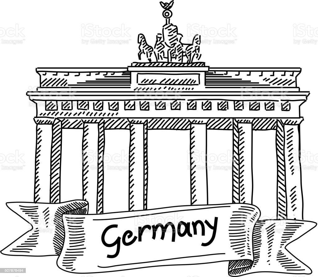 Brandenburg Gate Drawing vector art illustration