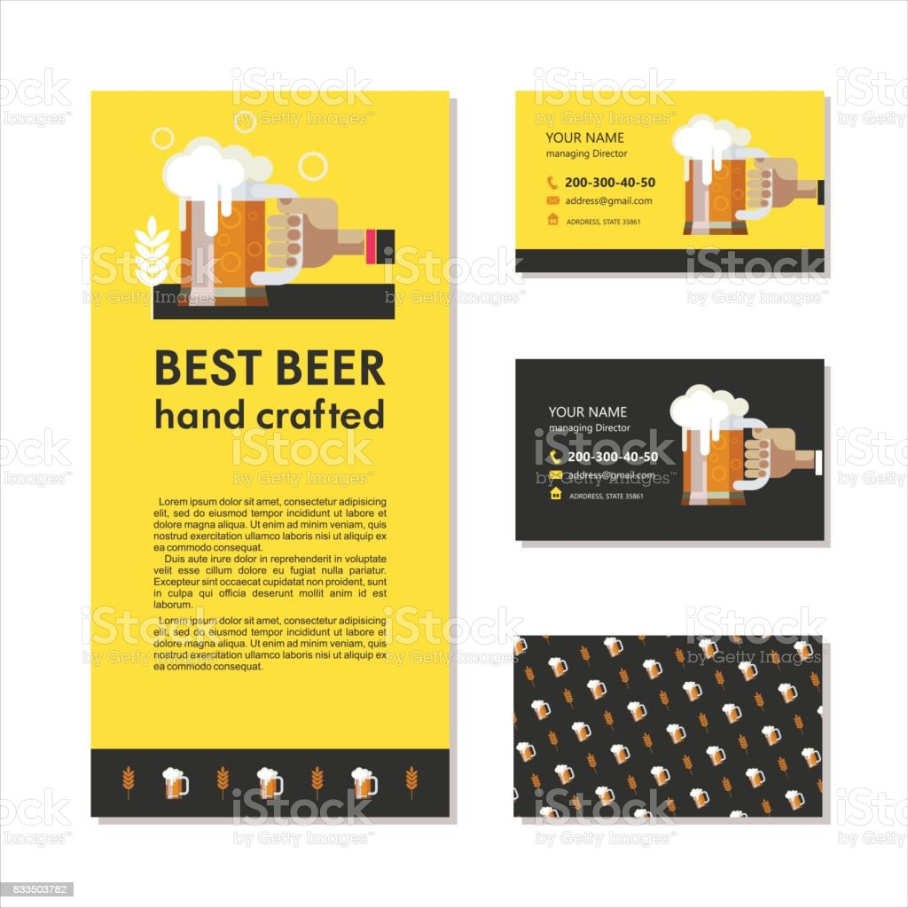 Branding, business cards and a flyer. Best beer hand crafted.  A mug of beer in hand. vector art illustration