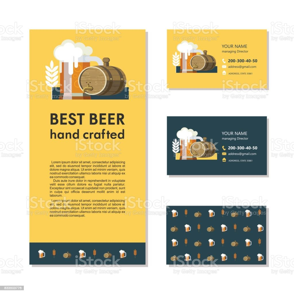 Branding, business cards and a flyer. Best beer hand crafted.  Beer mug and a beer keg. vector art illustration