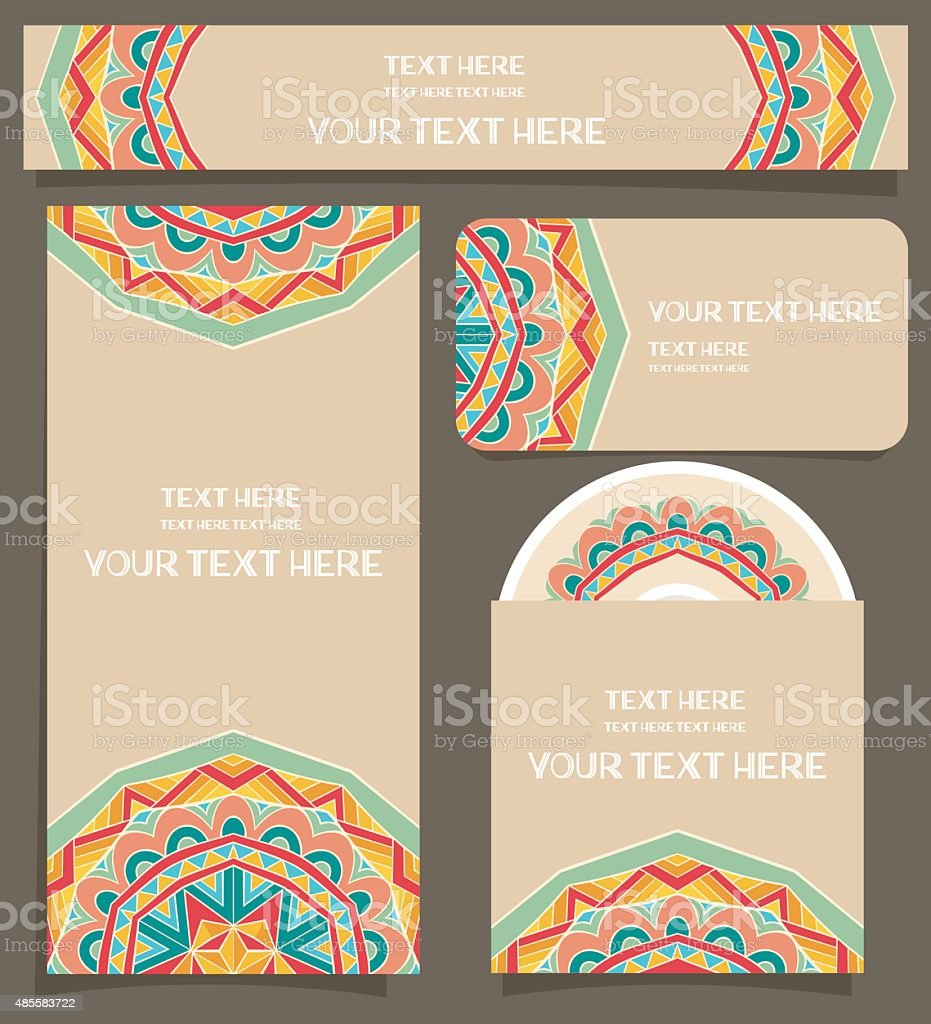 Branding Design With Festive Mexican Pattern vector art illustration