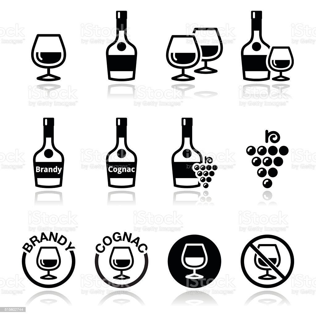 Brandy and cognac vector icons set vector art illustration