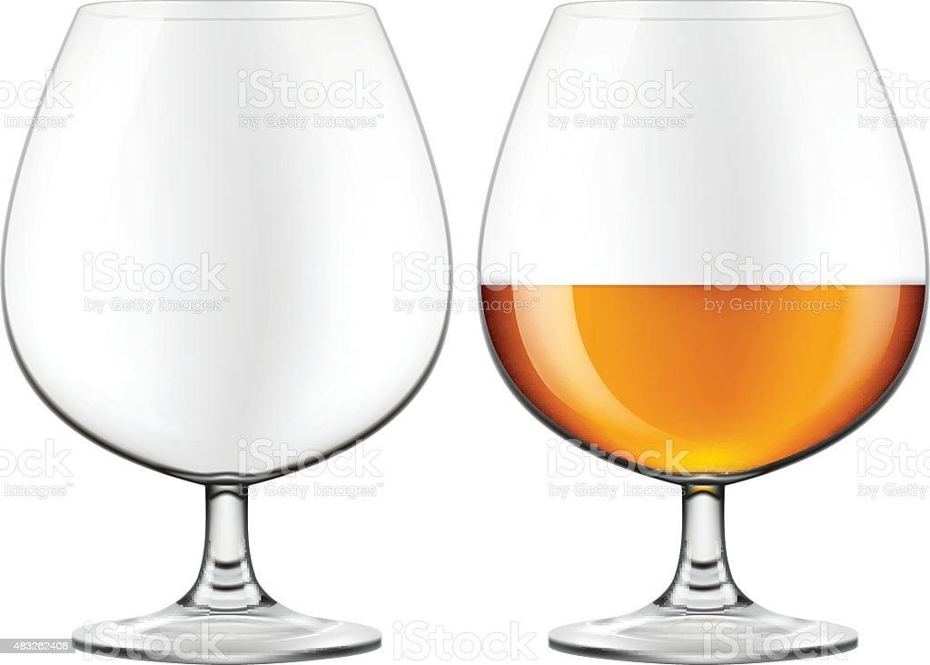 Brandy glass - empty and half full. vector art illustration