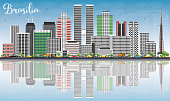 Brasilia Skyline with Gray Buildings, Blue Sky and Reflections.