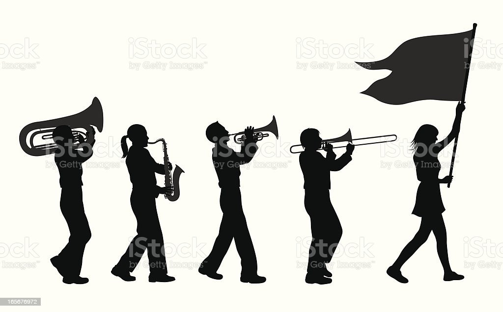Brass Band Vector Silhouette royalty-free stock vector art