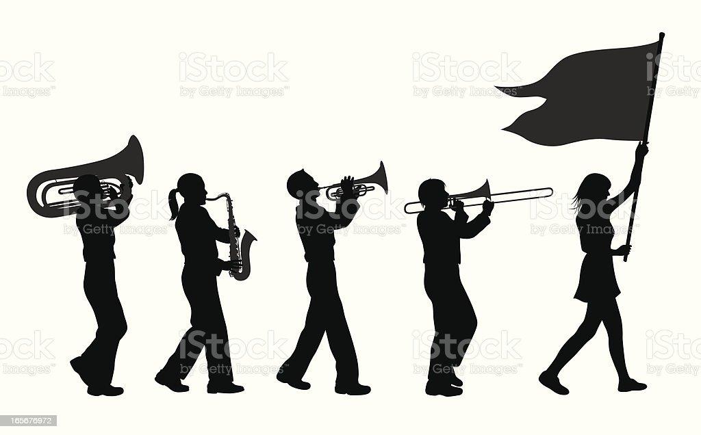 Brass Band Vector Silhouette vector art illustration