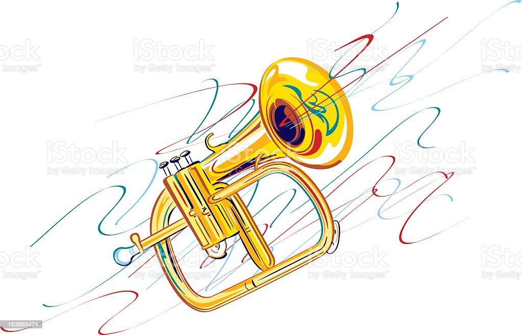 Brass Horn vector art illustration