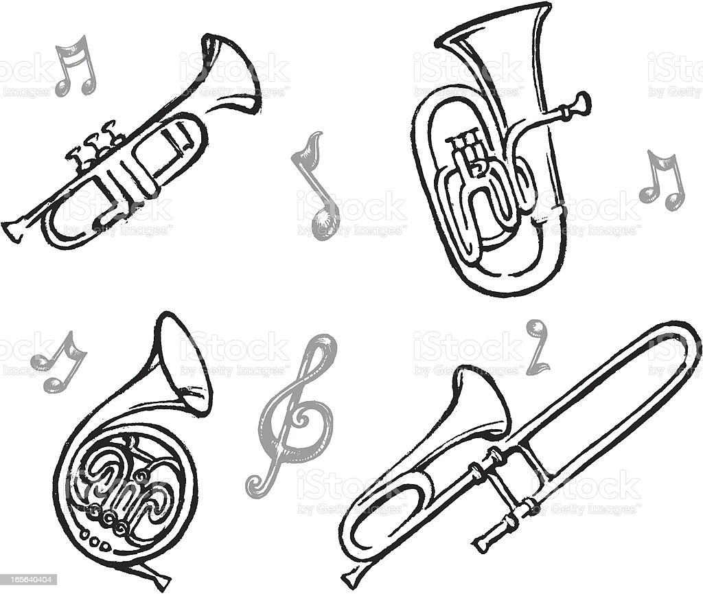 Brass Instrument Set royalty-free stock vector art