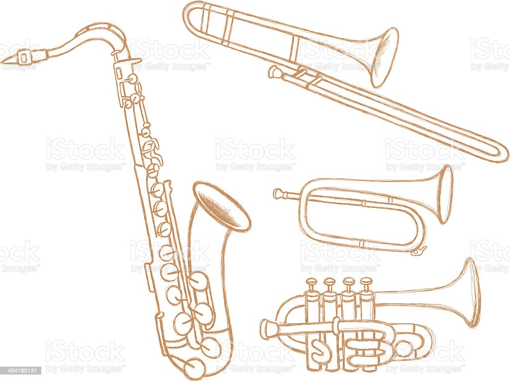 Brass Instruments Doodles royalty-free stock vector art