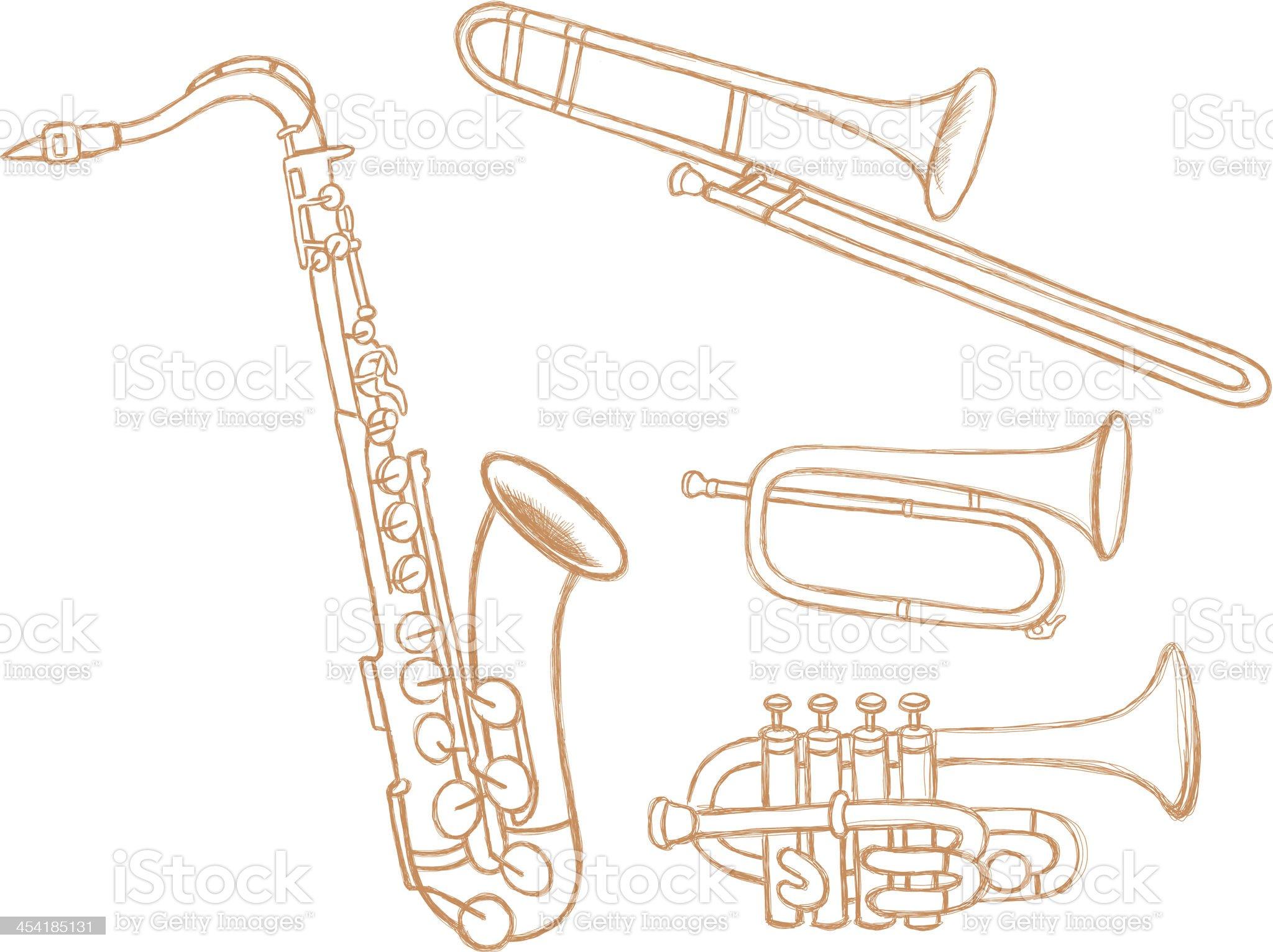 Brass Instruments Doodles royalty-free stock vector art