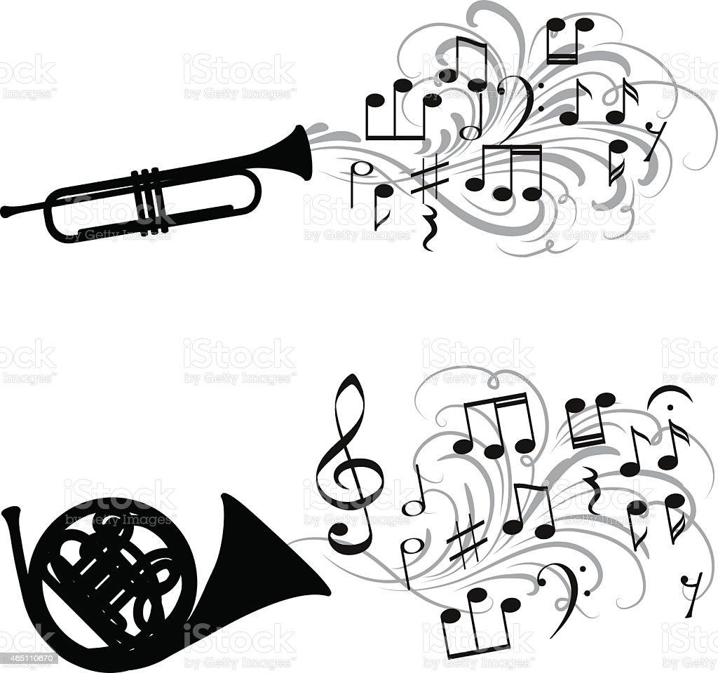Brass music vector art illustration