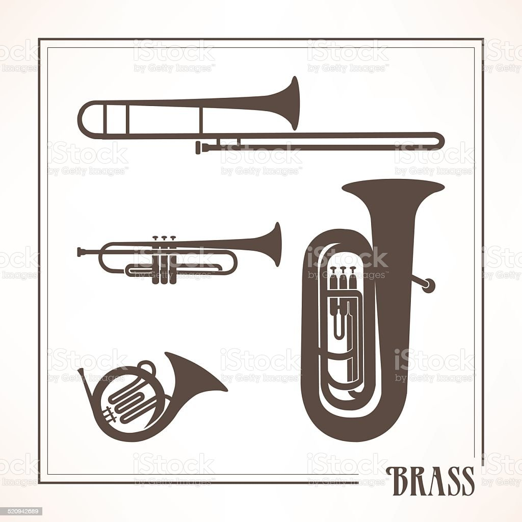Brass musical instruments vector art illustration