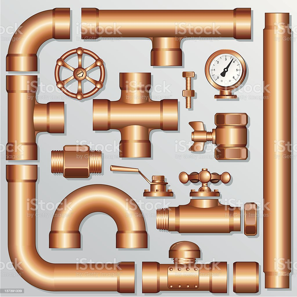 Brass pipeline vector art illustration
