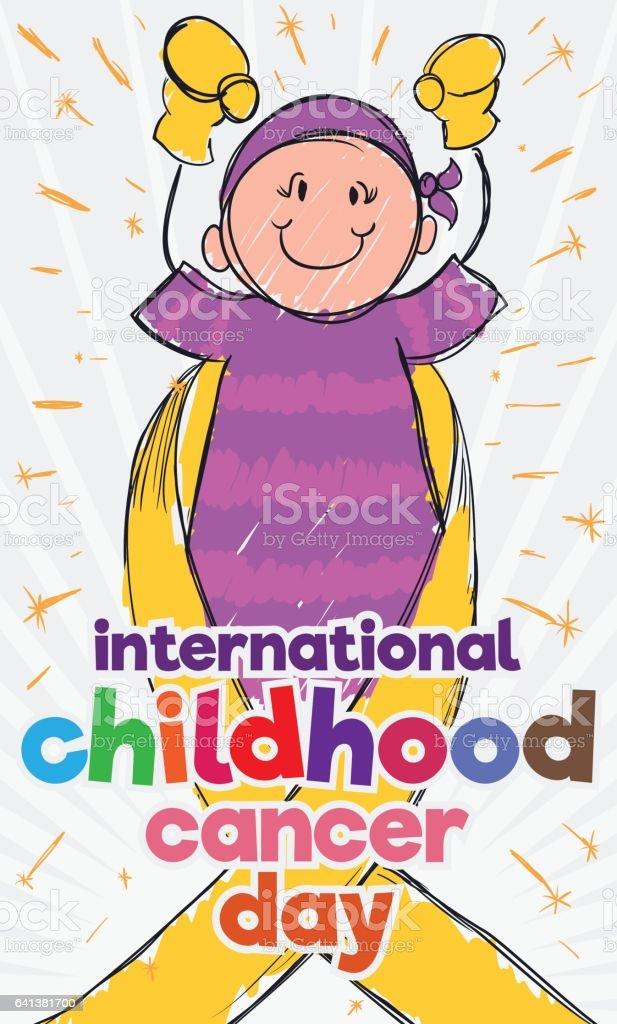 Brave Girl in Doodle Style for Childhood Cancer Day Celebration vector art illustration