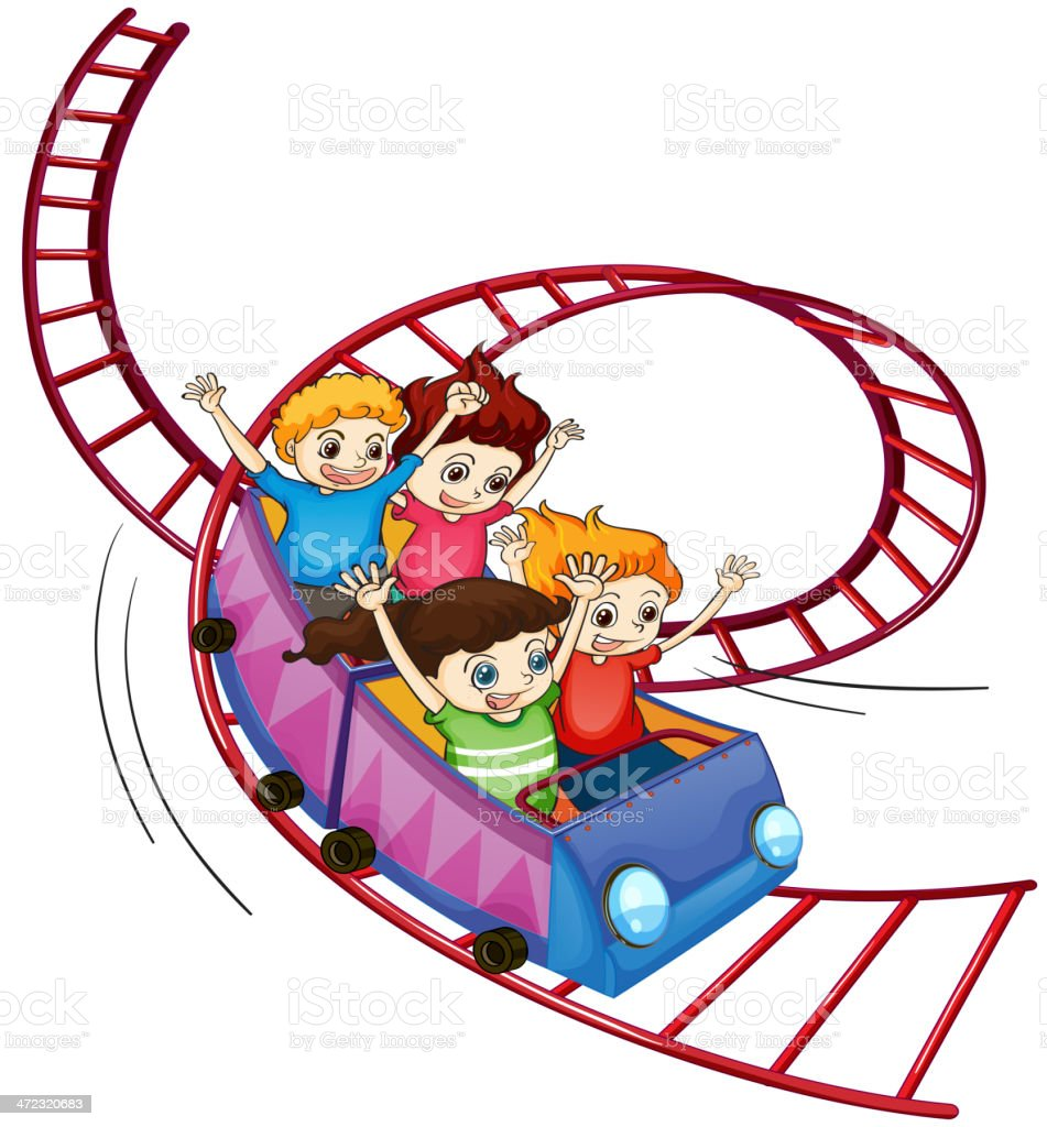 Brave kids riding in a roller coaster ride royalty-free stock vector art