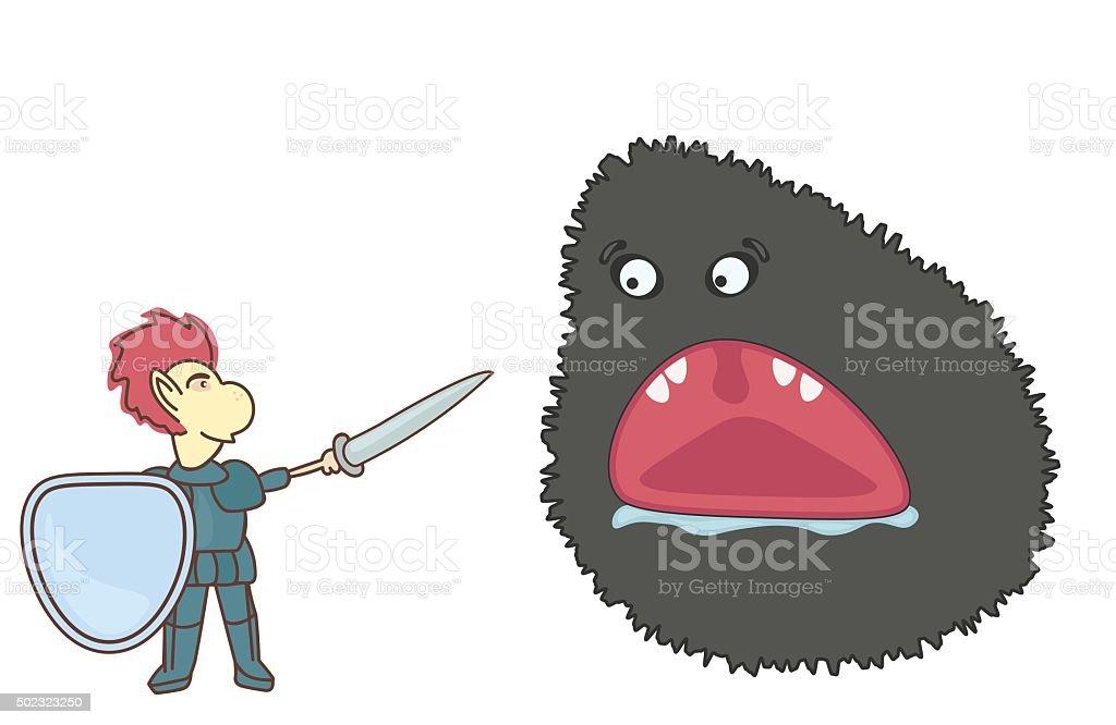Brave Knight vector art illustration