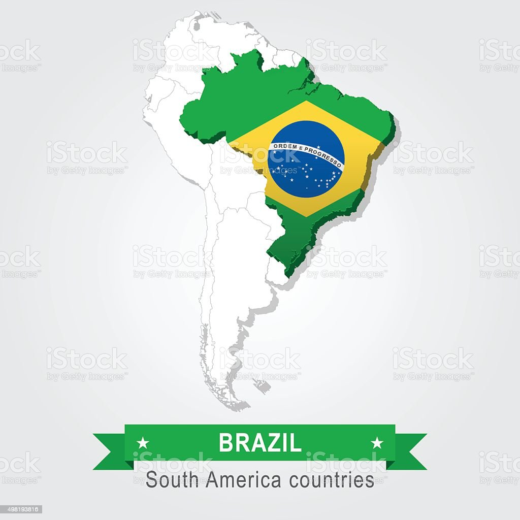 Brazil All The Countries Of South America Flag Version Stock - South america map and flags