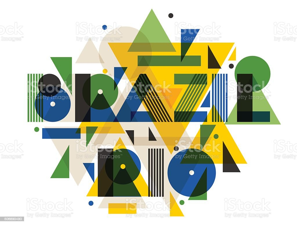 Brazil and Rio in abstract geometric style. Design for print vector art illustration