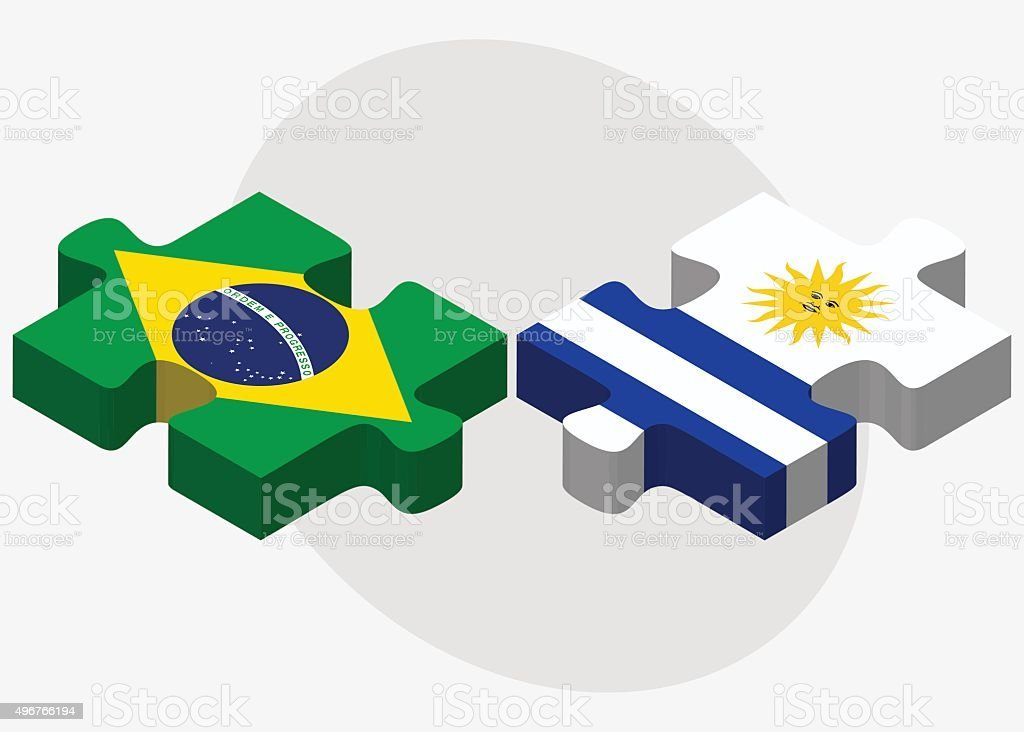 Brazil and Uruguay Flags vector art illustration