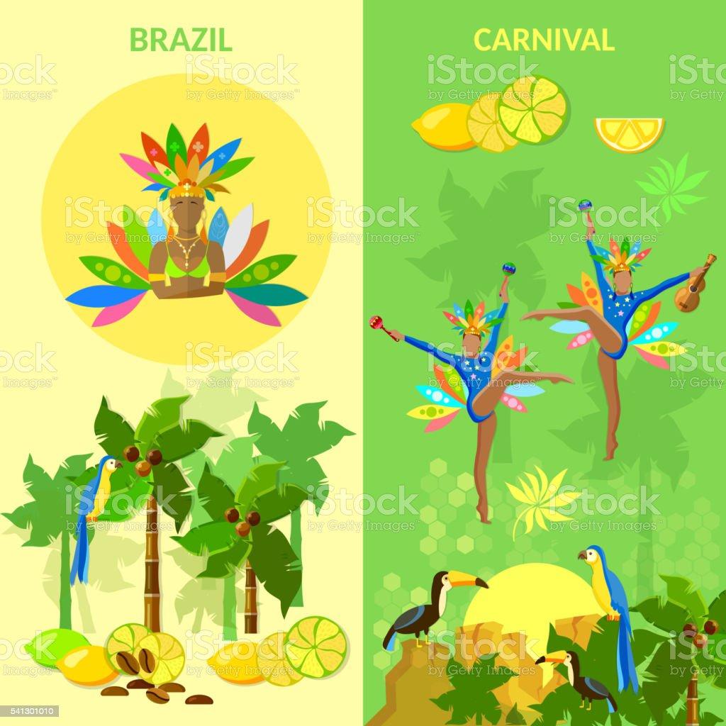 Brazil banners brazilian carnival vector art illustration