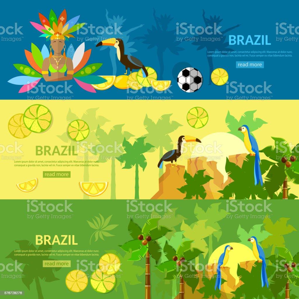 Brazil banners Rio de Janeiro girl in carnival costume vector art illustration