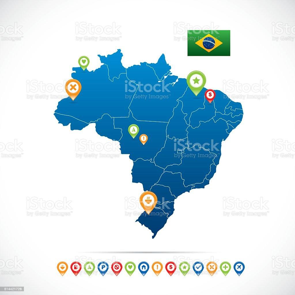 Brazil Blue Map vector art illustration