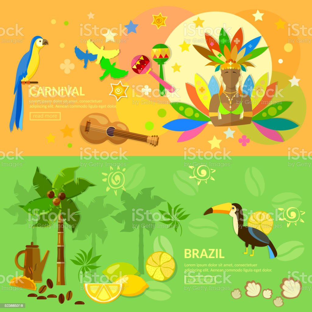 Brazil carnival banners  jungle vector illustration vector art illustration