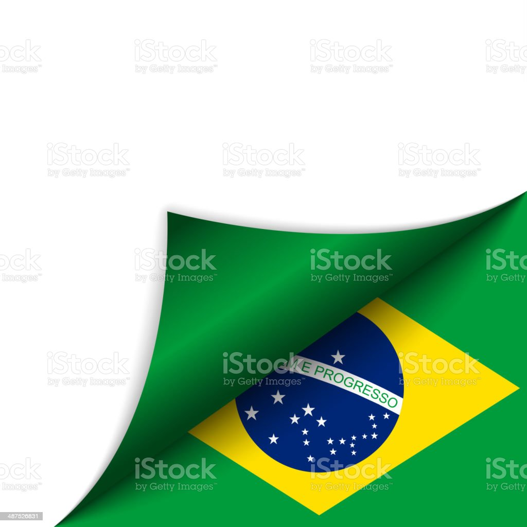 Brazil Country Flag Turning Page vector art illustration