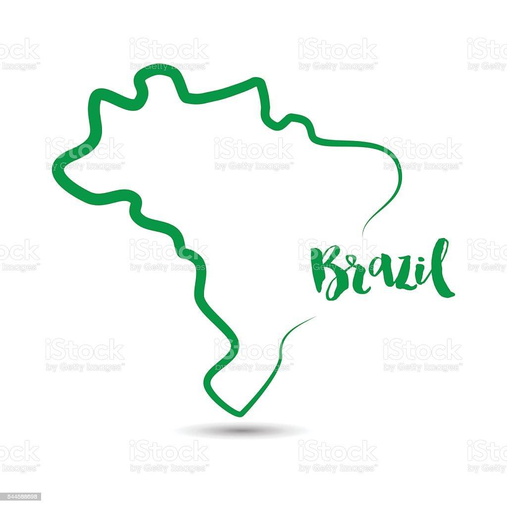 Brazil country outline in green vector art illustration
