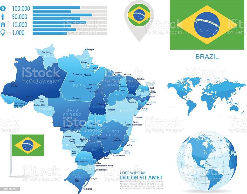 Brazil - infographic map - Illustration vector art illustration