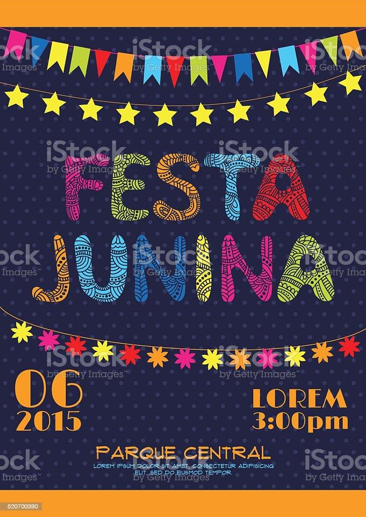 Brazil june party invitation poster vector art illustration