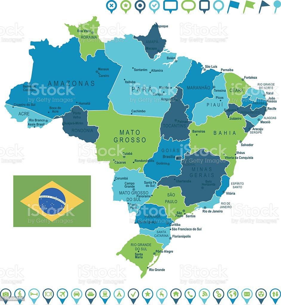 Brazil Map and Navigation Icons vector art illustration
