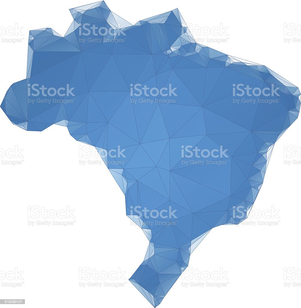 Brazil map blue polygons vector art illustration