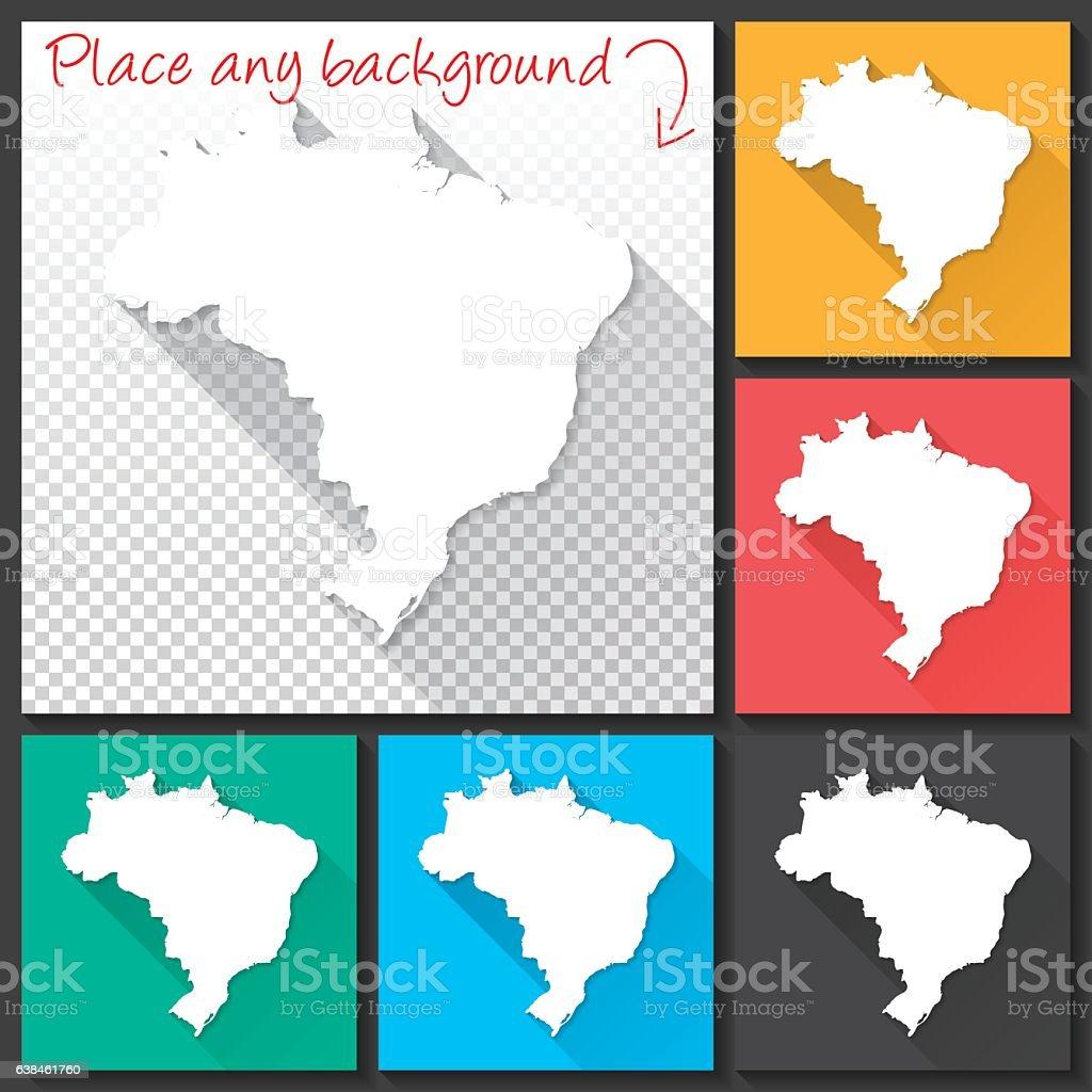 Brazil Map for design, Long Shadow, Flat Design vector art illustration