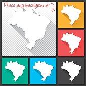 Brazil Map for design, Long Shadow, Flat Design