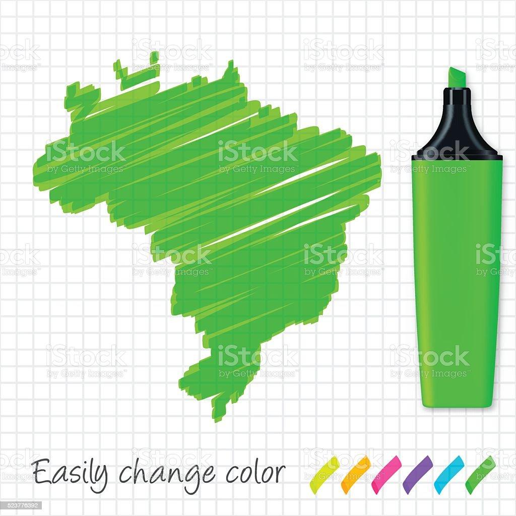 Brazil map hand drawn on grid paper, green highlighter vector art illustration