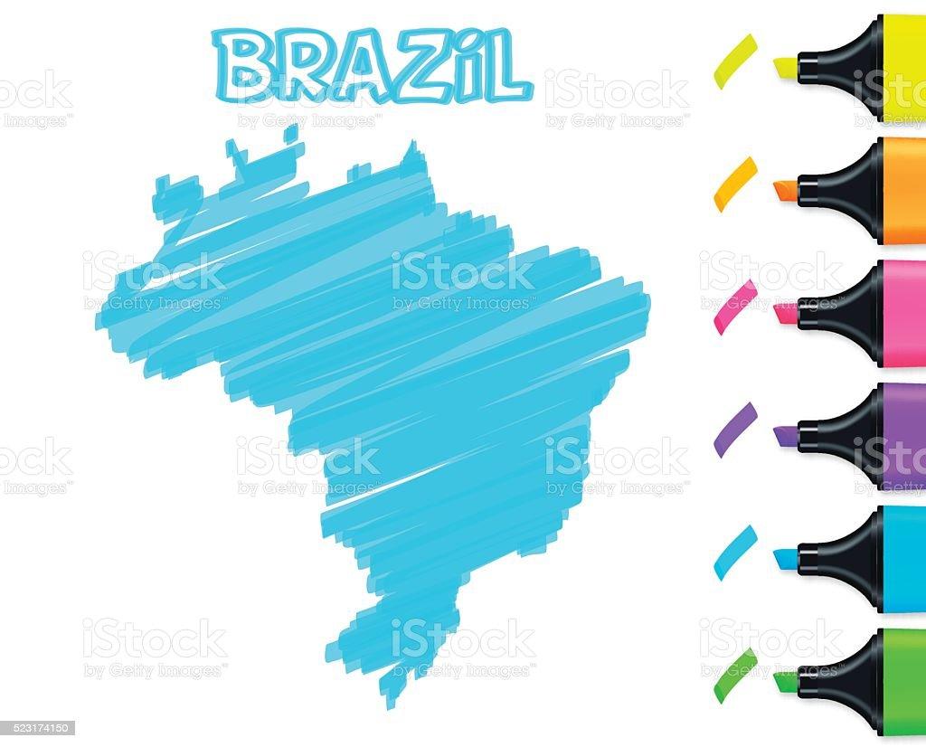 Brazil map hand drawn on white background, blue highlighter vector art illustration