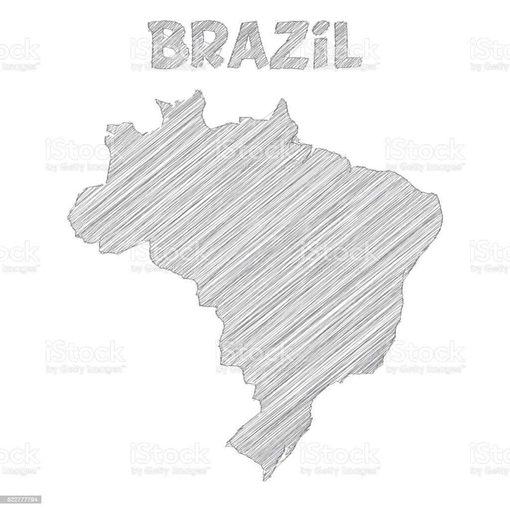 Brazil map hand drawn on white background vector art illustration