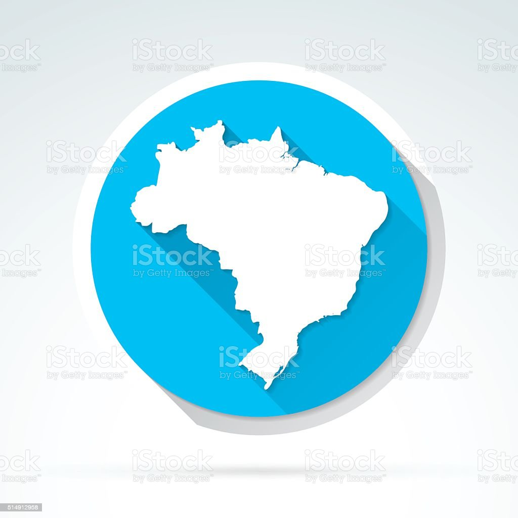 Brazil map icon, Flat Design, Long Shadow vector art illustration