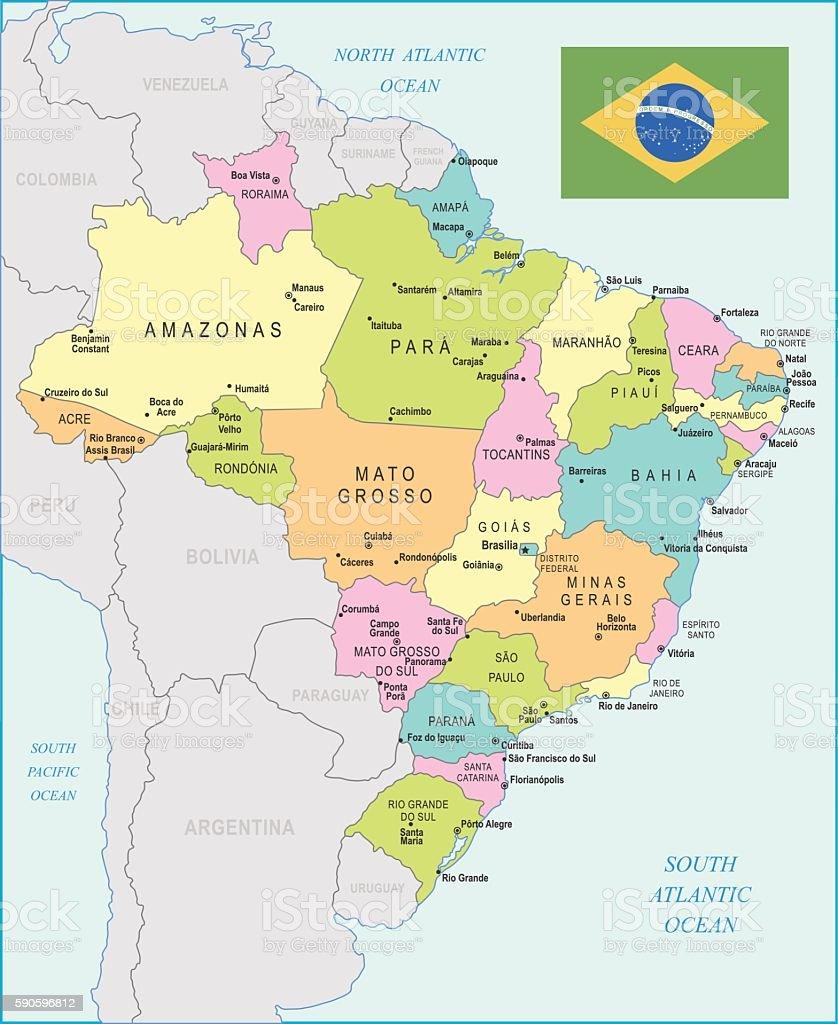 Brazil Map Illustration Stock Vector Art IStock - Brazil map illustration