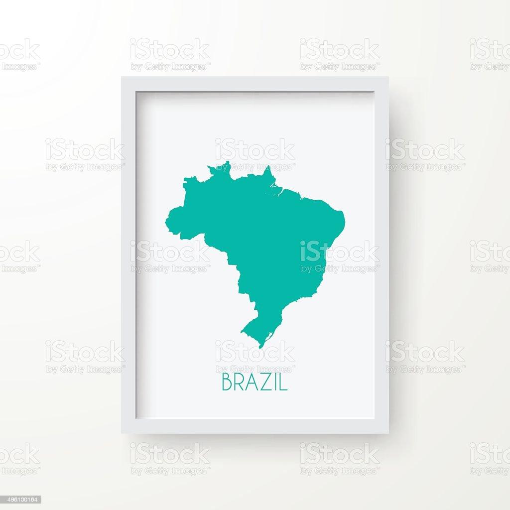 Brazil Map in Frame on White Background vector art illustration