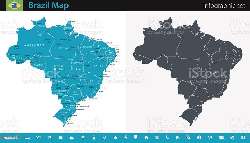 Brazil Map - Infographic Set vector art illustration