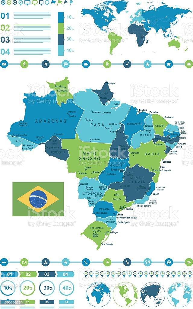 Brazil Map Infographic vector art illustration