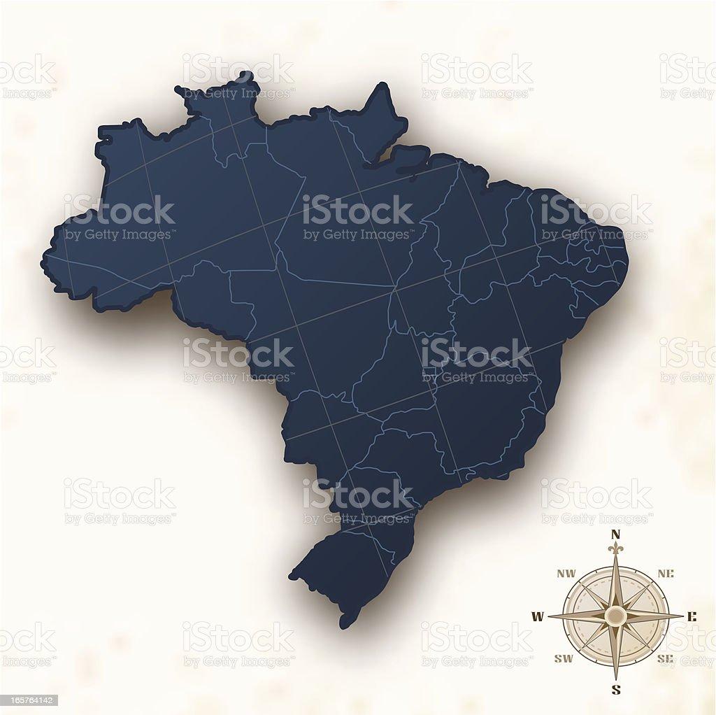 Brazil map old style vector art illustration
