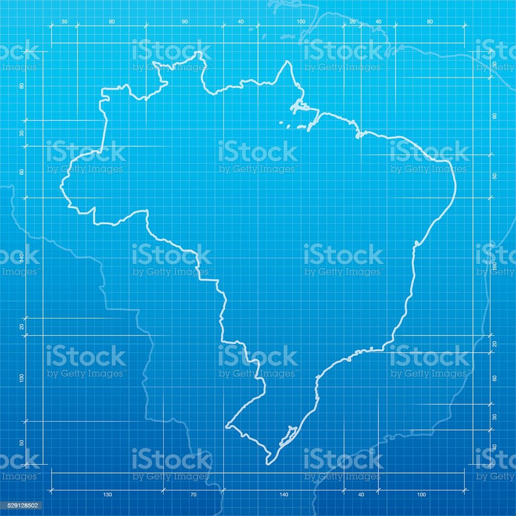 Brazil map on blueprint background vector art illustration