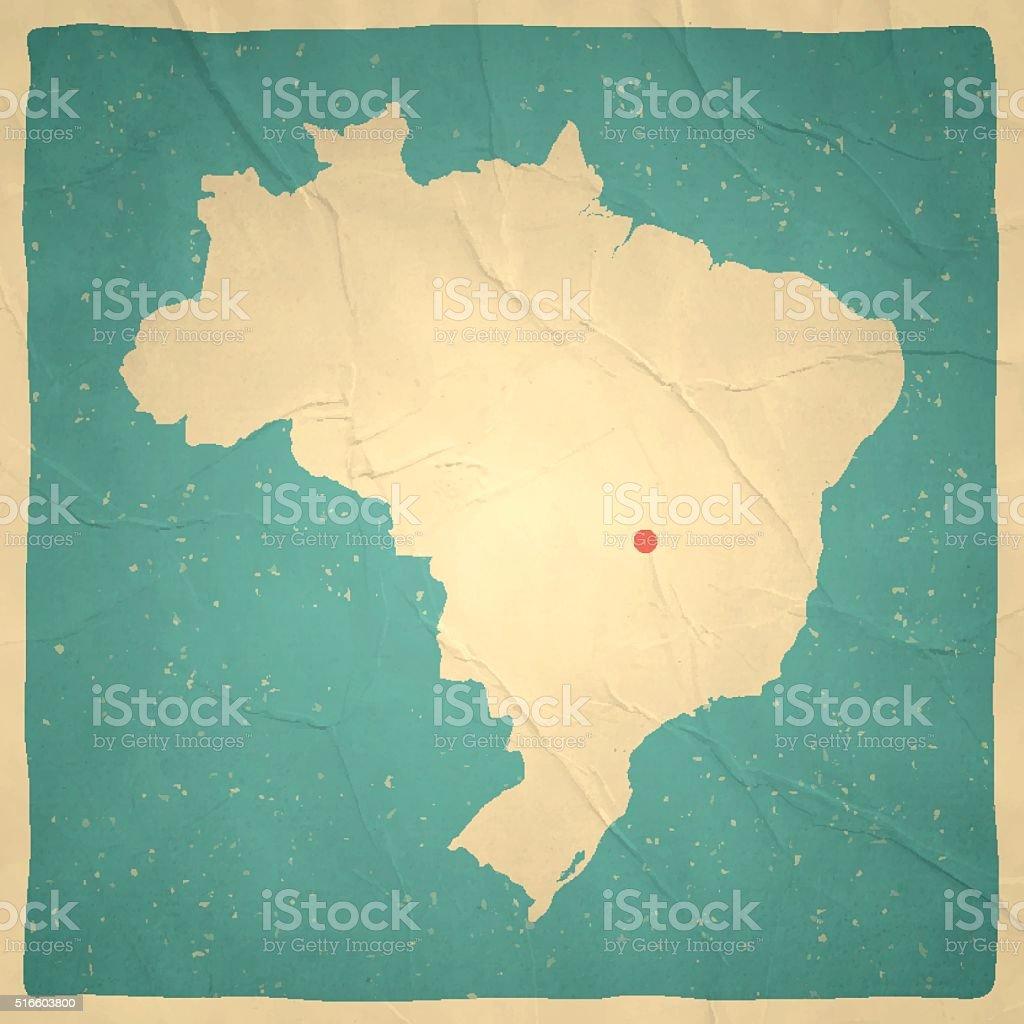 Brazil Map on old paper - vintage texture vector art illustration