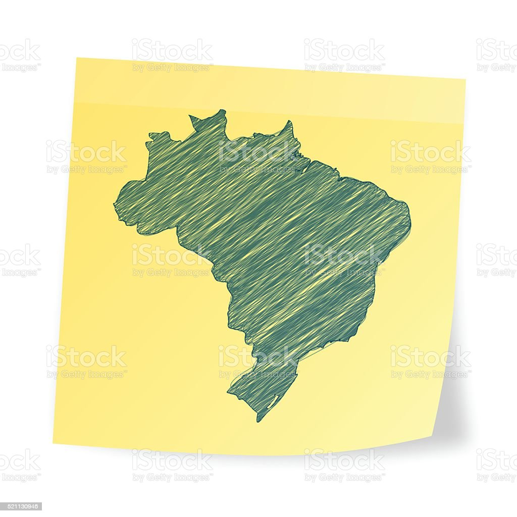 Brazil map on sticky note with scribble effect vector art illustration