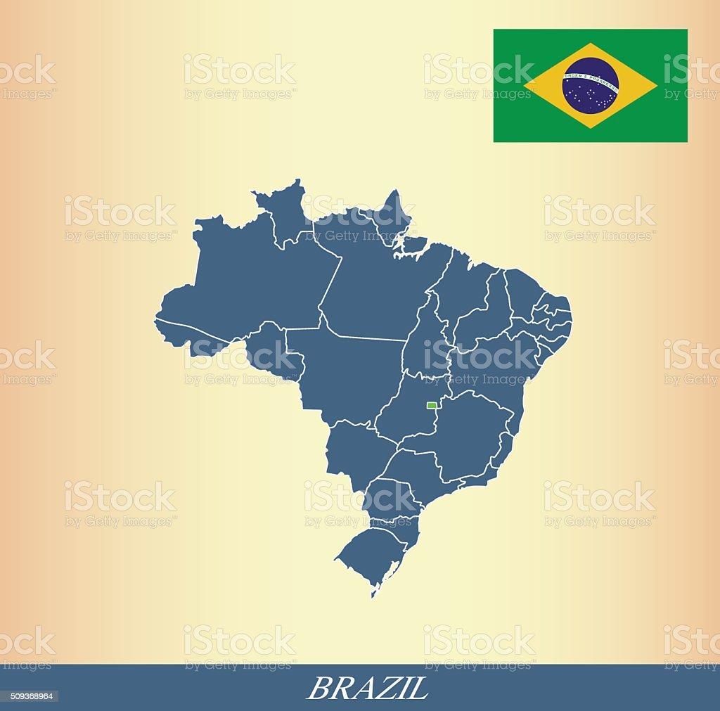 Brazil map outline vector and Brazil flag vector outline vector art illustration